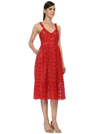 Beymen Club V Yaka Dantel Elbise Kırmızı